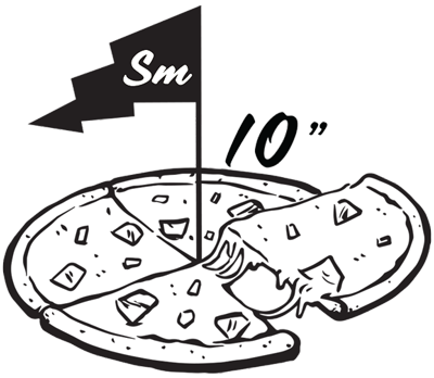 Size small round pizza illustration